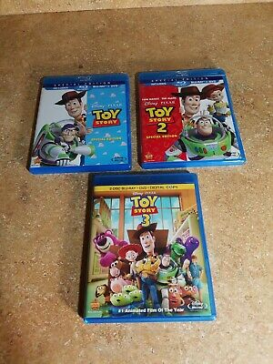 Disney Toy Story Trilogy Blu-Ray Lot 1 2 3 - (NO DVD OR DIGITAL) LIKENEW