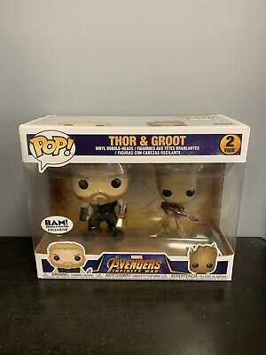Funko Pop Marvel Avengers Infinity War Thor & Groot BAM Exclusive 2 Pack!