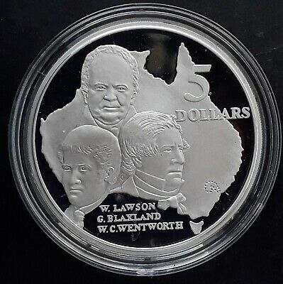 1993 Australia Blaxland, Lawson and Wentworth 1 oz Silver (.925) Proof $5 coin