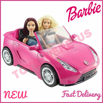 Barbie Glam Two-Seater Pink Convertible Sports Car Toy Vehicle For Barbie Dolls
