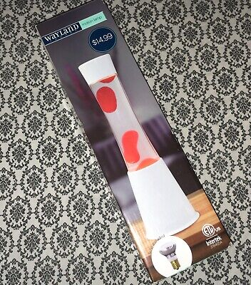 Wayland volcano motion lava lamp Light base white wax red liquid clear 15.5""