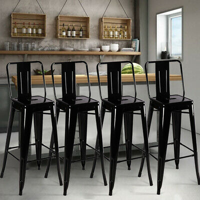 4pcs Black Metal Industrial Bar Stools Breakfast Chair Vintage Cafe Counter Seat