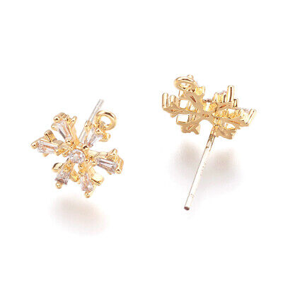 10 Brass Cubic Zirconia Snowflake Earring Posts w/ Loop Gold Plated Studs 13mm