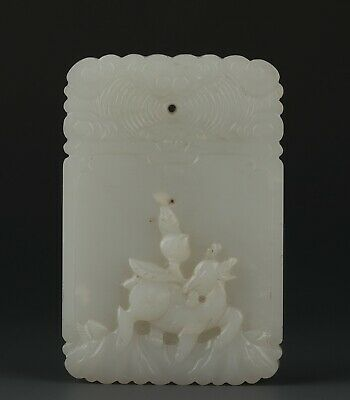 Chinese Exquisite Hand carved peach deer Carving Hetian jade Pendant