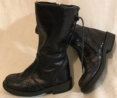 Girls John Lewis Navy Leather Lovely Boots Size 26 (255vv)