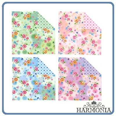 Japanese Origami Paper FLOWER Chiyogami Double Side 7.5 x 7.5 cm 32 Sheets
