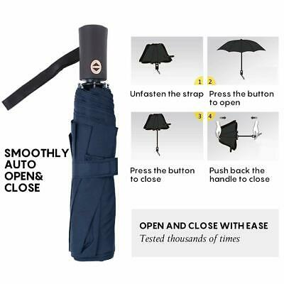 Automatic Travel Umbrella Compact Foldable Windproof Auto Open Close Large Navy