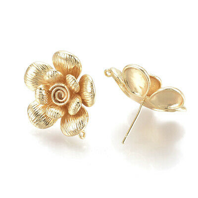 8pcs Brass Textured Flower Earring Posts w/ Loop Gold Plated Dangle Studs 23mm