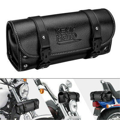 Motorcycle PU Leather Tool Bag Saddlebag Handlebar Front Fork Bag For Sportster