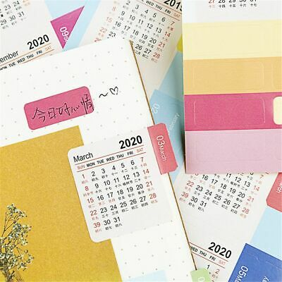 4 sheets 2019-2020 Calendar Stickers Self Adhesive Scrapbooking Decorations