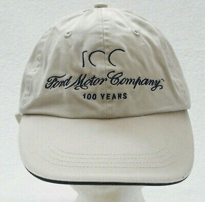Ford Motor Company  100 Years Baseball Cap Strap Back Embroidered Beige