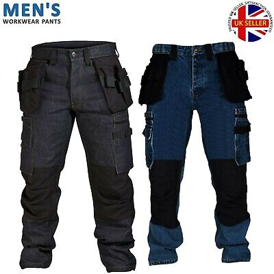 Mens Cargo Combat Work Trousers Black Blue Cordura Denim Jeans Size 32-40