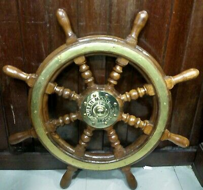 New Marine Antique Wooden & Brass( Queen Mary Norway) Ship Steering Wheel