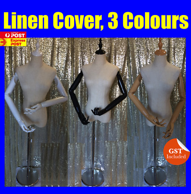 Linen Cover Female White Black Wooden Colour Mannequin Torso With  Chrome Stand