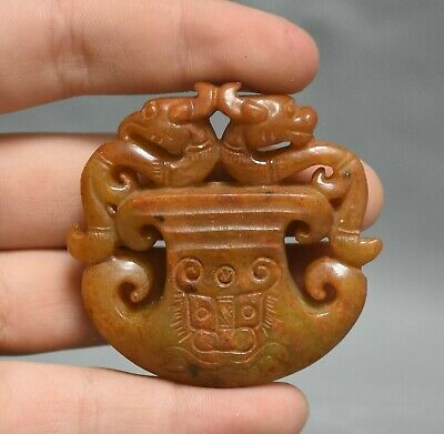 "2"" Old Chinese Ancient Jade Stone Hand Carved Dragon Beast Axe Pendant Amulet"