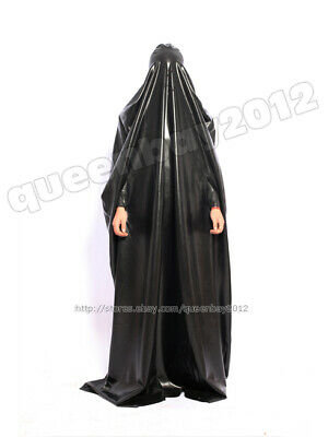 100% Latex Rubber Gummi Robe Catsuit Gown Suit Hood Mask Burqa Bodysuit Zentai