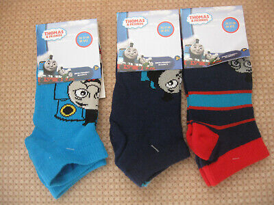 Pack of 3 Boy'sThomas & Friends Trainer/liners Socks, sizes 6-8.5, 9-12,12.5-2