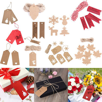50/100x Christmas Kraft Paper Gift Tags Wedding Birthday Hang Label With Strings