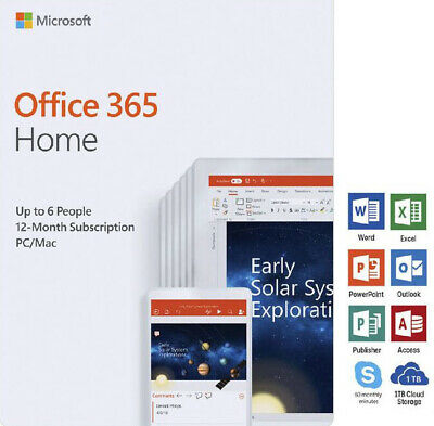 Microsoft Office 365 Home 12 month Subscription for PC or Mac 6 Users 1 Year
