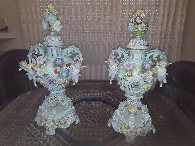 Large Pair of Dresden Porcelain Urns Vases Beautiful Ornate Flowers