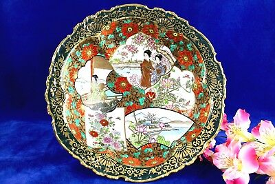 "Antique Japanese Imari Scalloped Edge Bowl With Geishas 11"" Wide"
