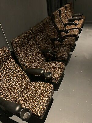 Set Of 8 Odeon Home Cinema Theatre Seats Animal Print Cup Holders Props