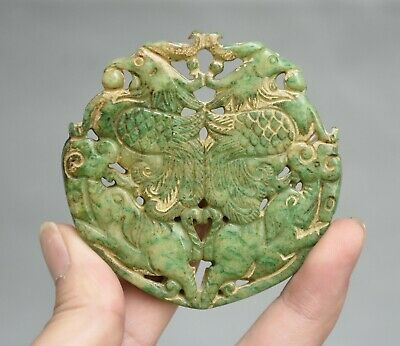 "2.8"" Old Chinese Ancient Jade Stone Carved Double Phoenix Birds Pendant Amulet"