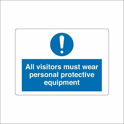 All visitors must wear personal protection equipment METAL SIGN PPE SAFETY SIGN