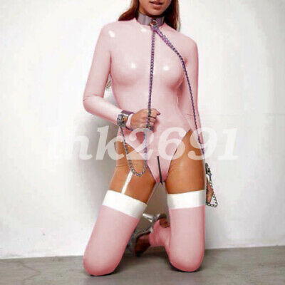 100% Women Latex Rubber Gummi catsuit Rosa Weib Sexy cosplay Bodysuit S-XXL