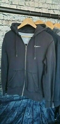 Vintage 90's NIKE Full Zip Draw String Hoodie, Small Embroidered Logo. MNT, UK M