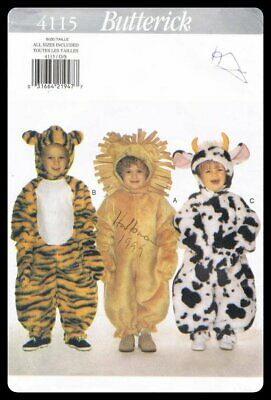 Butterick Sewing Pattern 4115 Children Costumes Cow Lion Tiger Sizes Toddler 1-4