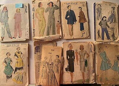 LOT of 8 1940s 1950s Vintage Sewing Patterns 40s 50s Women's Girls Apron Dresses