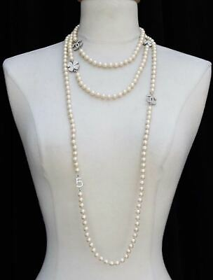 X LONG CHANEL 2008V PEARL SILVER CHARM No5 CC LOGO SAUTOIR NECKLACE