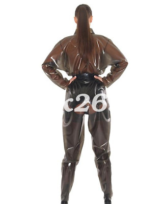 100%Latex Rubber Women Brown black Overall catsuit Loose Bodysuit Gummi S-XXL