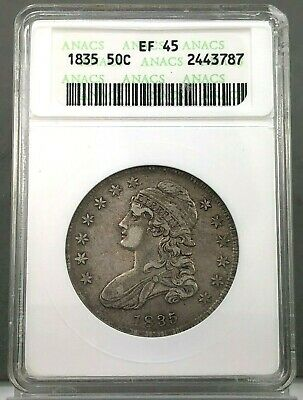 1835 50c Capped Bust Half Dollar ANACS EF45 ~ XF45 ~ OLD HOLDER