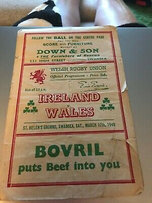 WALES v IRELAND 1949 RUGBY PROG - TRIPLE CROWN IRELAND