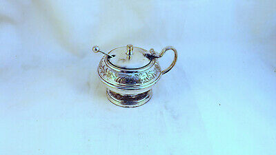 Vintage Silver Plated Mustard with Blue Glass Liner & Spoon