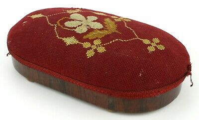 Antique Needlepoint Tapestry Embroidered Foot Stool Rest Bun Feet Small (509)