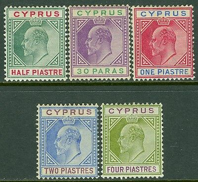 CYPRUS : 1902-04. Stanley Gibbons #50-54 VF, Mint Original Gum Hinged. Cat £200