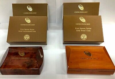 2015 Uncirculated & Proof $10 Gold First Spouse Box OGP & COA No Coins 2 Box Set
