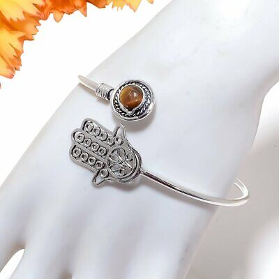 Tiger'S Eye Gemstone 925 Sterling Silver Jewelry Cuff Bracelet Adst. 2303