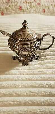 Antique Sterling Silver Mustard Pot And Spoon