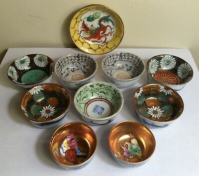 Vintige Lot of 10 Asian Chinese  Japanese  Small Bowls Hand Painted Gilded