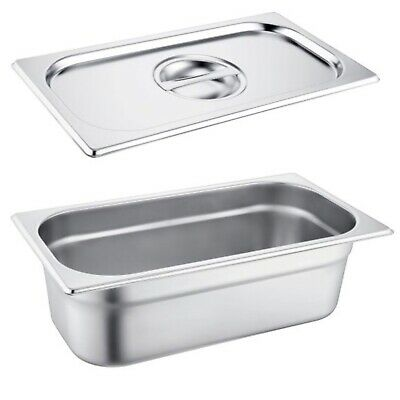 Gastronorm Pan Stainless Steel 1/4 Size Bain Marie Pot Choose Size