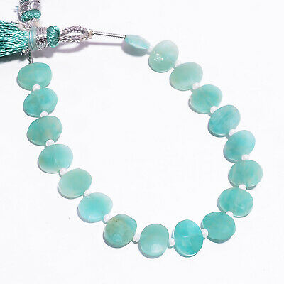 """36.65 Ct. Natural Amazonite Gemstone Oval Faceted Beads Strand 9X7 mm 6"""" PB-5792"""