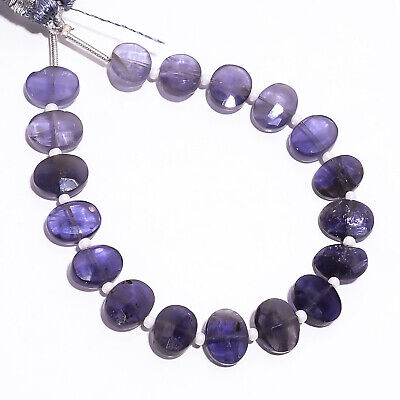 """39.15 Ct. Natural Iolite Gemstone Oval Faceted Beads Strand 9X7 mm 6"""" PB-5805"""
