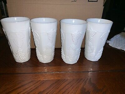 """Vintage Colony Harvest Grape Milk Glass 6"""" Tumblers By Indiana Glass -Set Of 4"""