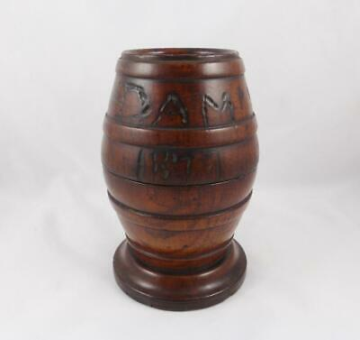 Antique Victorian Wooden Oak Barrel Shaped Table Snuff 'DAM YOU SNIFF 1871'