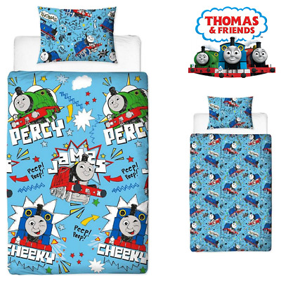 THOMAS THE TANK ENGINE SINGLE BED DUVET COVER SET 'Sketchbook' CHEEKY Reversible