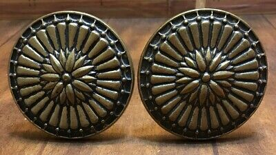 VTG Pair Rosette Flower Drapery Curtain Tie Backs Medallion Brass Bronze